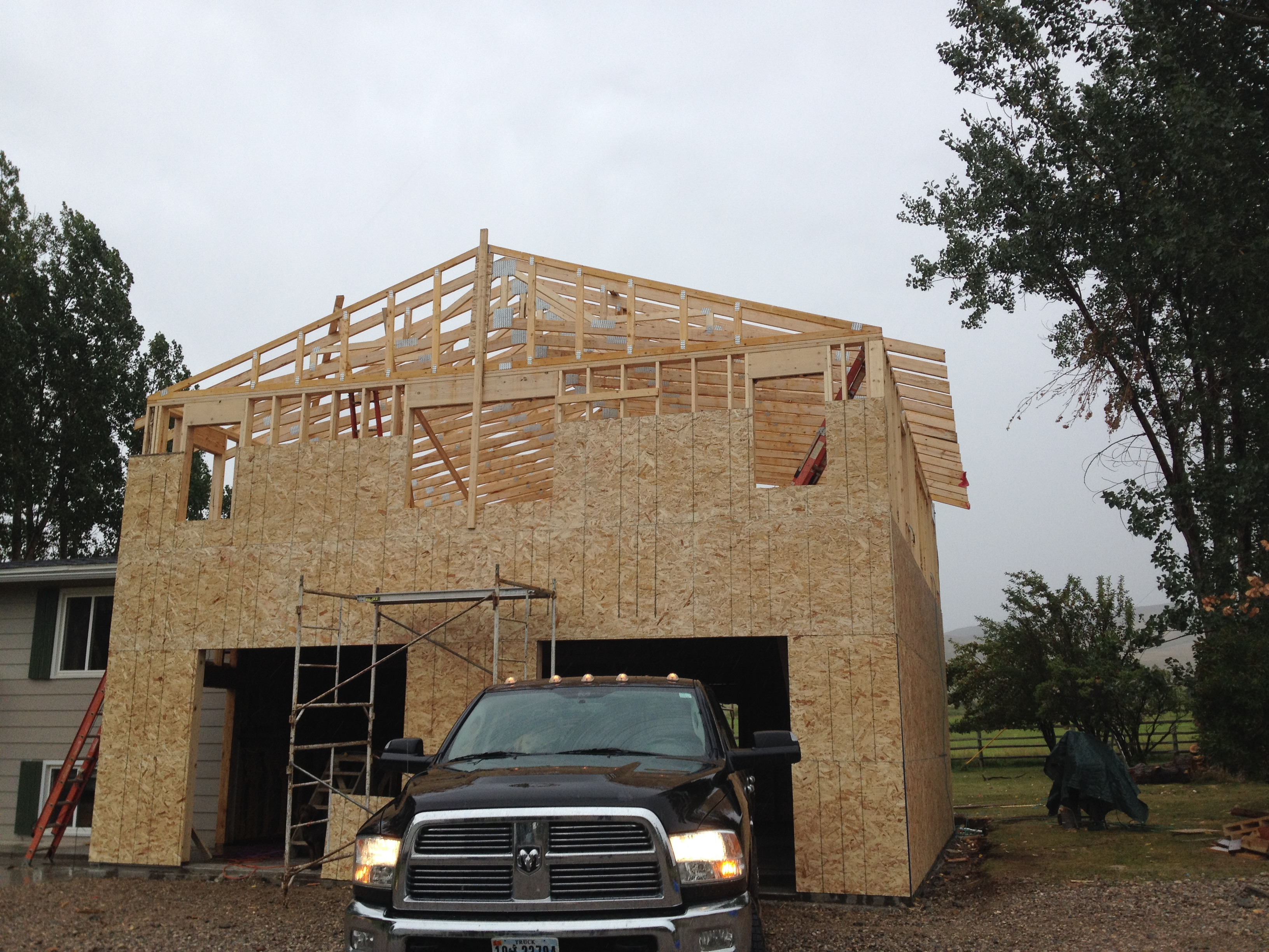 2 story home addition with 2 car garage moss construction for Double story garage